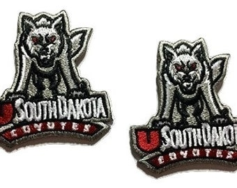 South Dakota Coyotes Embroidered Iron on Patch  * Choose Lot size you want
