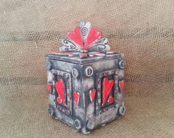 Love Is Actually All Around,  ceramic, themed, handmade, pottery, made in the UK, artisan, pottery, lidded pot, gift idea, hearts, one love