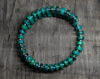 turquoise hued clay beads with glass spacers