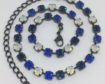 Swarovski 6mm Opal and Blues Crystal Necklace
