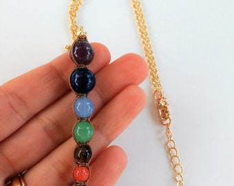Seven chakras Necklace- Boho jewelry-Protection necklace - natural stones- Collar 7 Crakras- Collar piedras naturales- Healing necklace-