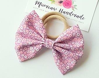 Fabric Bow Headband - hair Clip - Nylon Headband - Posy pink bow