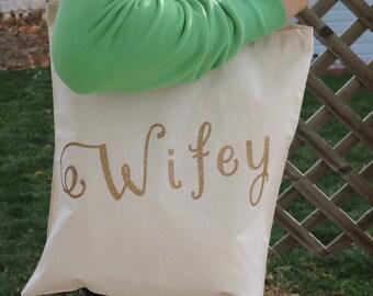 Canvas Tote Bag/Wifey/Glitter