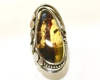 Ring Mexico from Mexico silver Amber amber solid sterling silver 925 thousandth euro 60 size us 9 20 swiss