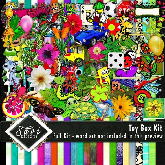 Digital Scrapbooking Kit, TOY BOX, Clip Art embies, bright colours boys and girls, colourful word art, fun scrapping for childrens pages