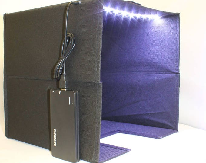 Photography Light Box (Black) with LED Lights and Portable Battery Pack, Photography Accessories, Macro Photography, Product Photography,