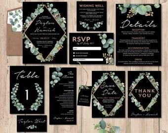 Greenery wedding invitation set, wedding invitation suite, wedding stationery set, wedding, black, printable wedding invitation (Peyton)