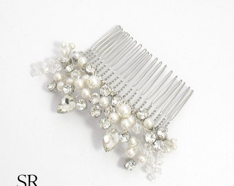 Bridal hair accessories hair comb wedding ivory rhinestone crystals wire bead glitter silver plated drop glass crystal flower blossom