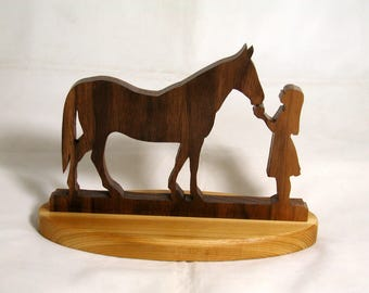 Handmade Wood Horse and Girl