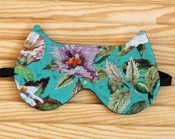 Cat Sleep Mask, Sleeping Mask, Flowers, gifts for travelers, cotton sleep mask, travel eye mask, Mother's Day gift, Bridesmaid Gift, Tiffany