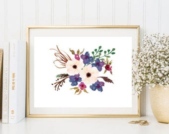 Beautiful wall art decor watercolor print flowers botanical print pink blue watercolor wall art print floral watercolor poster DOWNLOAD