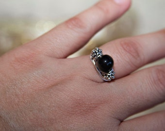 Boho Ring, Wire Wrapped Rings, Black Ring, Vintage Rings, Rings For Women, Wire Rings, Rings For Women, Silver Ring, Bohemian Ring