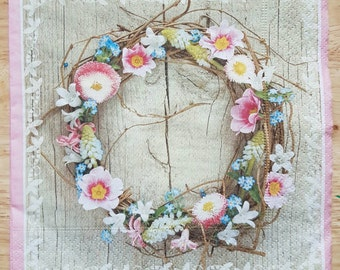 Set of 4 Shabby Chic Spring Wreath Square Paper Lunch Napkins Decoupage Crafts Collage Scrapbooking #048