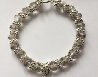 Grey Crystal Heart Bracelet