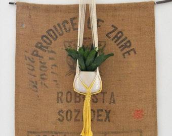 Yellow tie-dye macrame hanger