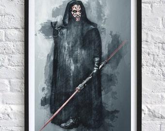 Star Wars - Darth Maul 'Watercolor' A4 Print 2