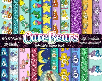CAREBEARS Digital Paper Pack, Care Bears, Carebear Birthday, Care Bears Vintage, Care Bears Birthday, Care Bears Party Supplies