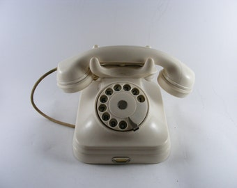 Vintage 1960's White Bakelite Rotary Telephone Pupin Yugoslavia Working Condition