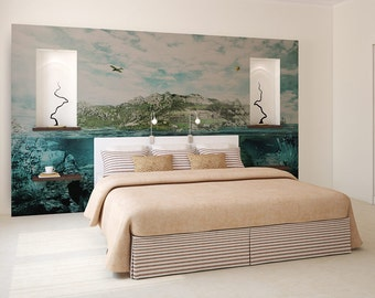 Turtle island wallpaper, photo wallpaper, self adhesive, wall mural, wall covering