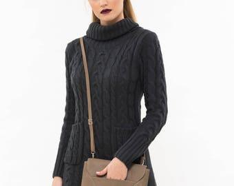 Brown leather clutch bag, Brown cross body bag, Brown leather evening bag, Brown Leather small bag , Leather cross body bag