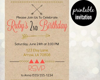 Arrow Girls Birthday Invitation | Pink Gold Invite, Coral Gold Invite,  Girl's Birthday Invitation, Birthday Party Invite with Arrows