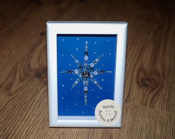 Christmas Button Star Picture, A6 Framed Button Art
