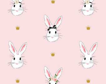 COTTON DOUBLE GAUZE Fabric, Wonderland 2 Main Pink, Riley Blake Double Gauze, Sheer Cotton Fabric, Easter Fabric, Bunny Fabric, Pink Bunny