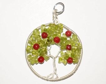 Peridot and Coral Tree of Life Apple Tree Pendant