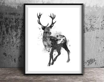 Deer Art Print, Watercolor Deer Art, Printable Instant Download, Wildlife Decor, Deer wall art,Scandinavian art, Home decor,Nordic Design