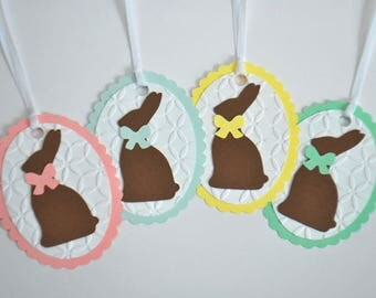 Easter Gift Tag Set - Embossed Easter Favor Tag Set - Easter Bunny Tags - Easter Basket Tags - Set of 4