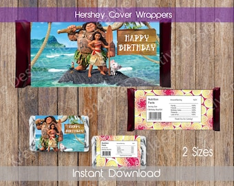 Moana Hershey Wrappers Moana Hershey Chocolate Wrapper Moana Chocolate Wrappers Moana Hershey Party Favors 2 Sizes INSTANT DOWNLOAD