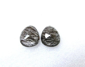 Pair (2 pcs) Natural Black Rutile, Uneven Rose Cut, Size ( 14.5x13 mm -2 pcs) Irregular Rose cut,AAA Quality gemstone