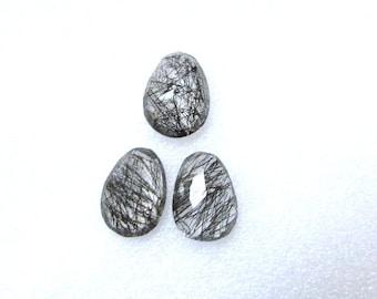Pair (3 pcs) Natural BLACK Rutile, Uneven Rose Cut, Size (16x13 mm - 1 pcs Or 14x10.5 mm -2 pcs) Irregular Rose cut,AAA Quality gemstone