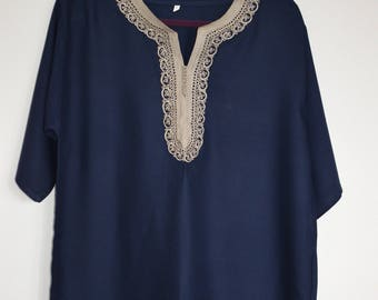 Men's Moroccan navy blue traditional tunic with beige trim size medium