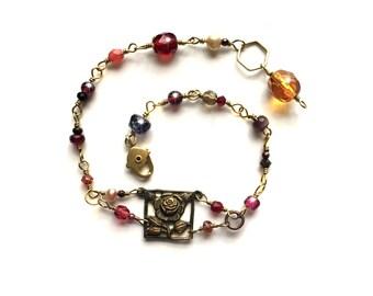 vintage jewelry, Steampunk bracelet, Steampunk jewelry, silver, victorian bracelet, victorian jewelry, Boho,bohemian, wire wrap beads