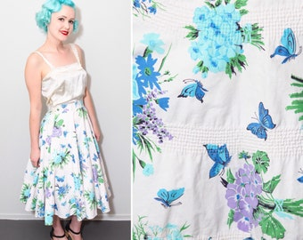 1950's White & Blue Butterfly Print Circle Skirt | High Waisted | Size Small
