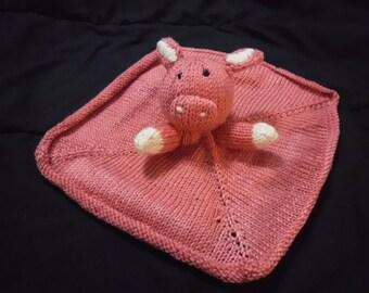 Hand knitted pink piggie stuffed animal mini blanket