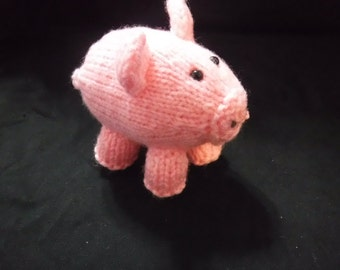 Hand knitted tiny pink pig adorable