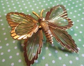 Vintage Butterfly Brooch, Pin, Monet, Butterfly, Wirework, Lady Bird, Gold Tone, Designer Jewelry, Bug, Insect, Dimensional, Figural, 1970s