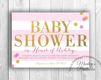 Baby Shower Invitation, DIY Printable, Pink and Gold Baby Shower Invite, Baby Girl