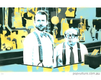 Its Always Sunny in Philadelphia limited edition spray paint serigraph A3 size, Charlie & Frank, 3 color variants available