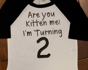 Boys Second Birthday Shirt,Boys Second Birthday, 2nd Birthday Shirt; Boys 2nd Birthday, Two, Are You Kitten Me, I'm Turning 2