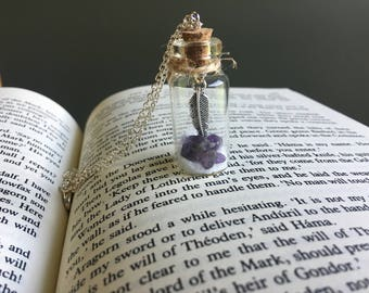 Feather Charm Potion Bottle Necklace | Purplepotion bottle, fairy dust, magic, fantasy, crystals in a bottle