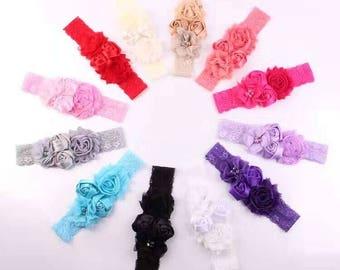 Set of 12 Shabby chic baby headbands, newborn lace headband, infant headbands, baby hair bow, baby shower gift, vintage baby headband set.