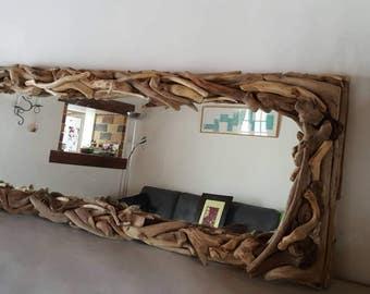 Miroir en bois flotté panoramique