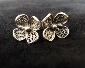 Flower Earrings Florita, Filigree Earrings, Sterling Silver, Stud Earrings, Silver Earrings, Filigree Studs, Handmade Jewellery, Gift Idea