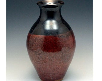 "9"" Red and Black stoneware vase"