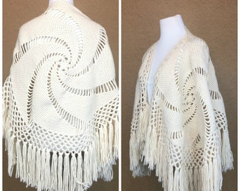 70's Bohemian Crochet  Shawl