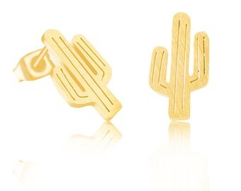 Oorstekertje cactus goud