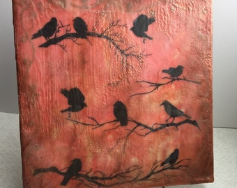 A Welcome Murder (of crows), original encaustic art.